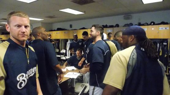 Lyle Overbay, Randy Winn, Ryan Braun & Rickie Weeks during B.A.T.'s meeting with the Brewers.